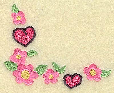 Embroidery Design: Floral hearts corner 3.51w X 2.84h