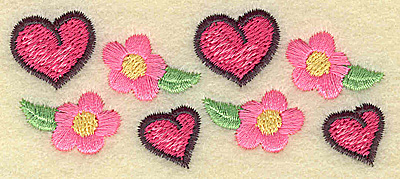 Embroidery Design: Hearts and flowers 3.42w X 1.45h