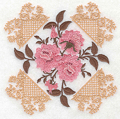Embroidery Design: Victorian Roses A 4.99w X 4.99h