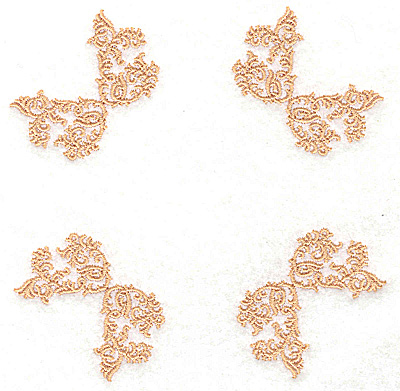 Embroidery Design: Four corners inverted B 4.98w X 4.98h