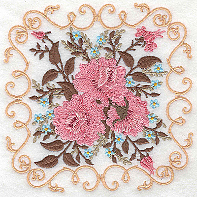 Embroidery Design: Victorian Roses C 4.98w X 4.98h