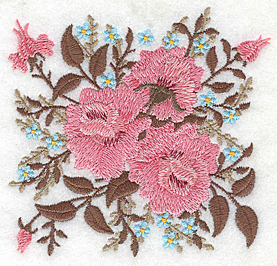Embroidery Design: Victorian Roses and bloosoms 3.97w X 3.76h