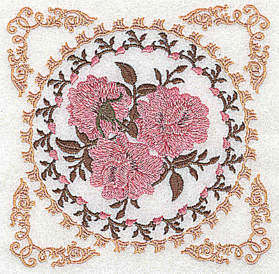 Embroidery Design: Victorian Roses D 4.98w X 4.98h