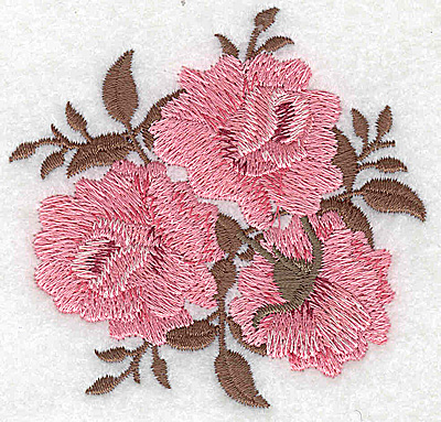 Embroidery Design: Roses and leaves 3.12w X 3.01h