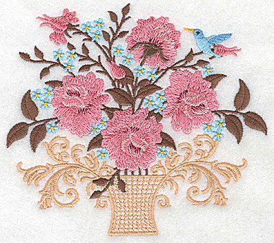 Embroidery Design: Vase with roses blossoms and bird 5.54w X 4.93h