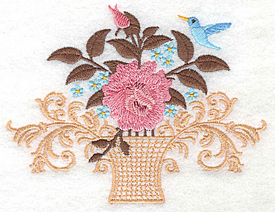 Embroidery Design: Vase with roses blossoms and bird small 4.87w X 3.79h