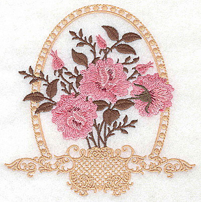 Embroidery Design: Roses in Victorian basket 4.92w X 4.98h