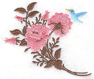 Embroidery Design: Roses with bluebird 4.07w X 3.49h