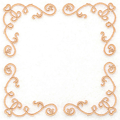 Embroidery Design: Victorian Heart and swirl border 4.98w X 4.98h