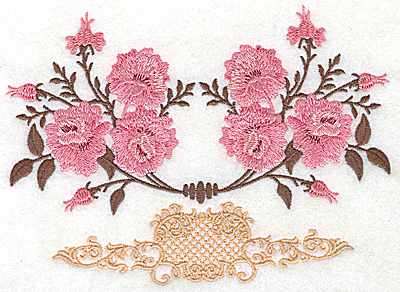 Embroidery Design: Victorian roses design 6.90w X 4.98h