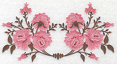 Embroidery Design: Double rose design 6.90w X 3.69h
