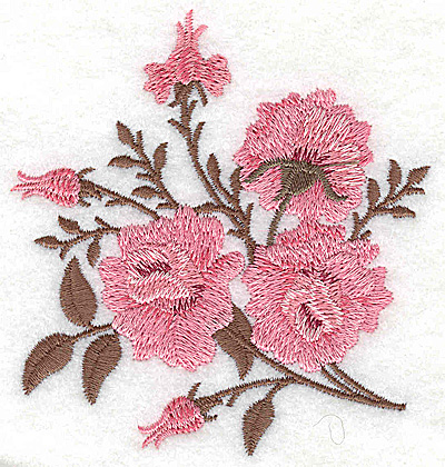 Embroidery Design: Rose trio with buds 3.42w X 3.69h