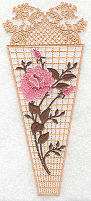 Embroidery Design: Vase with single rose 3.06w X 6.94h