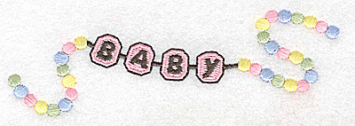 Embroidery Design: Beaded baby girl bracelet large 4.92w X 1.64h