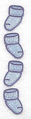 Embroidery Design: Four baby boy booties vertical 0.88w X 4.76h