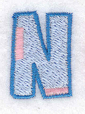 Embroidery Design: N Small  0.88Wx1.26H