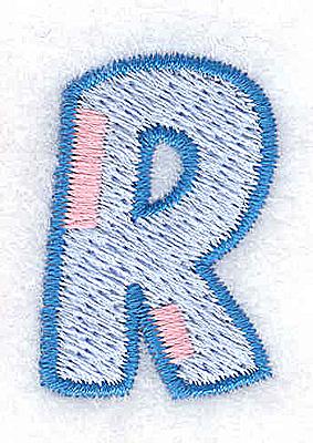 Embroidery Design: R small 0.86w X 1.28h
