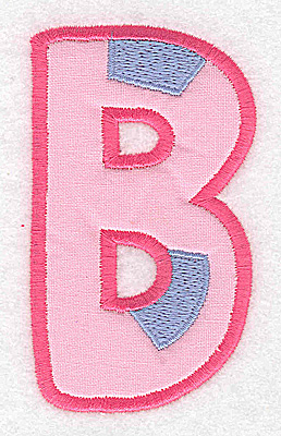 Embroidery Design: B applique large 2.13w X 3.66h
