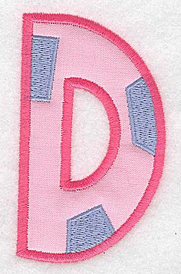 Embroidery Design: D applique large 2.13w X 3.64h