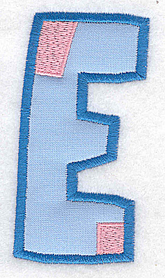 Embroidery Design: E applique large 1.90w X 3.64h