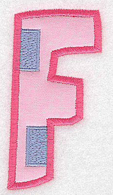 Embroidery Design: F applique large 1.83w X 3.65h