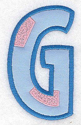 Embroidery Design: G applique large 2.14w X 3.71h