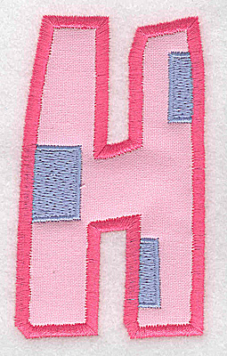 Embroidery Design: H applique large 2.13w X 3.68h