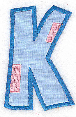 Embroidery Design: K applique large 2.49w X 3.70h