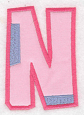 Embroidery Design: N applique large 2.54w X 3.65h