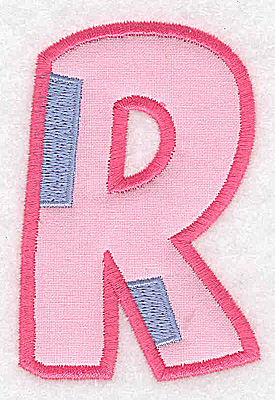 Embroidery Design: R applique large 2.47w X 3.68h