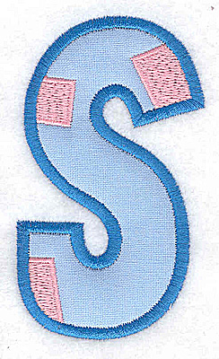 Embroidery Design: S applique large 2.17w X 3.71h