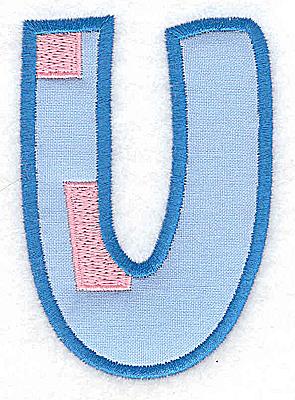 Embroidery Design: U applique large 2.57w X 3.69h