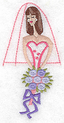 Embroidery Design: Bride with bouquet 1.96w X 3.84h