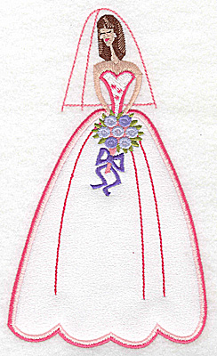 Embroidery Design: Bride in wedding gown applique 4.12w X 6.97h