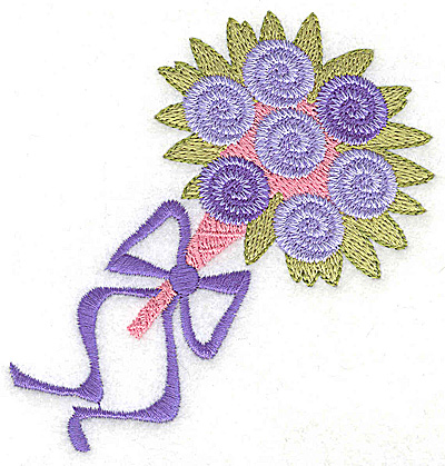 Embroidery Design: Wedding bouquet with ribbon small 3.58w X 3.88h