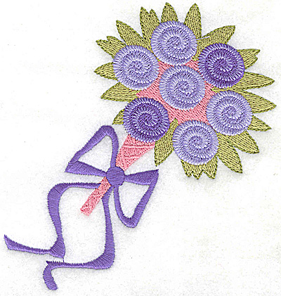 Embroidery Design: Wedding bouquet with ribbon large 4.58w X 4.96h