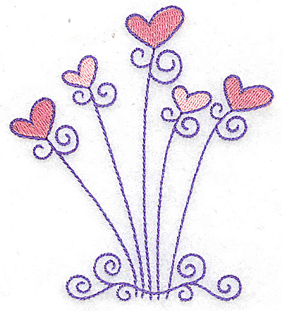 Embroidery Design: Hearts and swirls small 3.42w X 3.87h