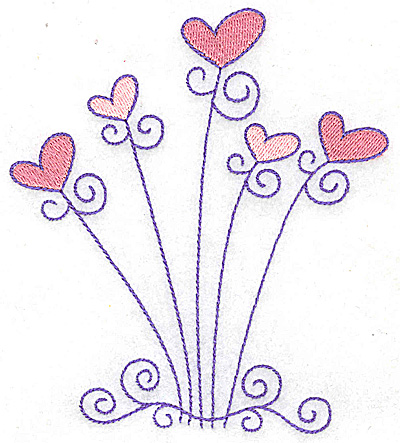 Embroidery Design: Hearts and swirls large 4.38w X 4.95h