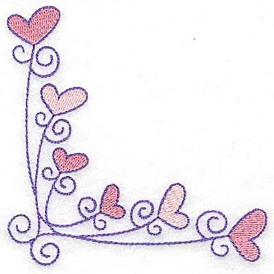 Embroidery Design: Corner hearts small 3.76w X 3.77h