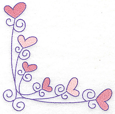 Embroidery Design: Corner hearts large 4.81w X 4.82h