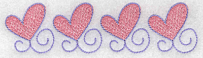 Embroidery Design: Four hearts in a row 4.95w X 1.31h