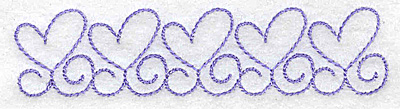 Embroidery Design: Heart outlines in a row 3.89w X 0.92h
