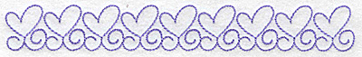 Embroidery Design: Heart outlines in a row long 6.96w X 0.92h