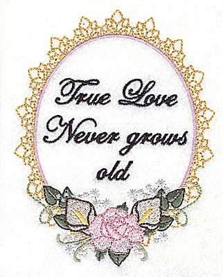 Embroidery Design: True Love Wedding design large with text 3.78w X 4.93h