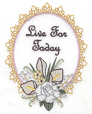 Embroidery Design: Live for Today Wedding design large with text 3.78w X 4.93h