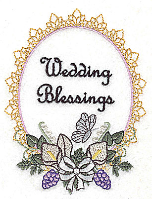 Embroidery Design: Wedding Blessings design large with text 3.78w X 4.96h