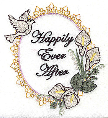 Embroidery Design: Happily Ever After Wedding design large with text 4.35w X 4.97h