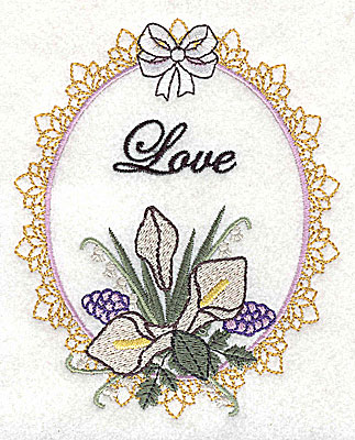 Embroidery Design: Love Wedding design large with text 4.03w X 4.97h