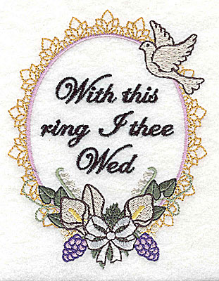 Embroidery Design: With this ring Wedding design large with text 3.78w X 4.96h