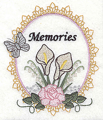 Embroidery Design: Memories Wedding design large with text 4.13w X 4.97h